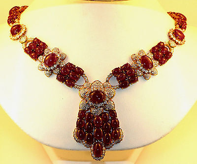 VINTAGE LADIES CABOCHON RUBY NECKLACE TCW 201 CTS OF RUBY & DIAMONDS w EAR CLIPS