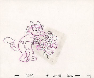 Simpsons Production Pencil Cell Drawing - Itchy & Scratchy Show - Scene 48 A1