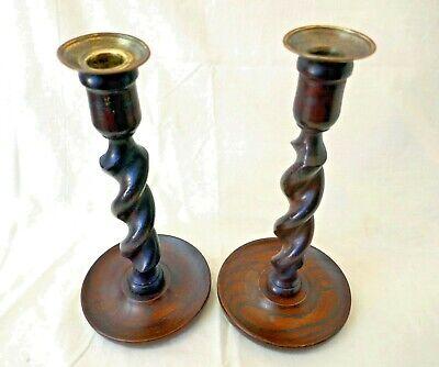 Antique Barley Twist Wooden Oak Effect Brass Pan Candlesticks