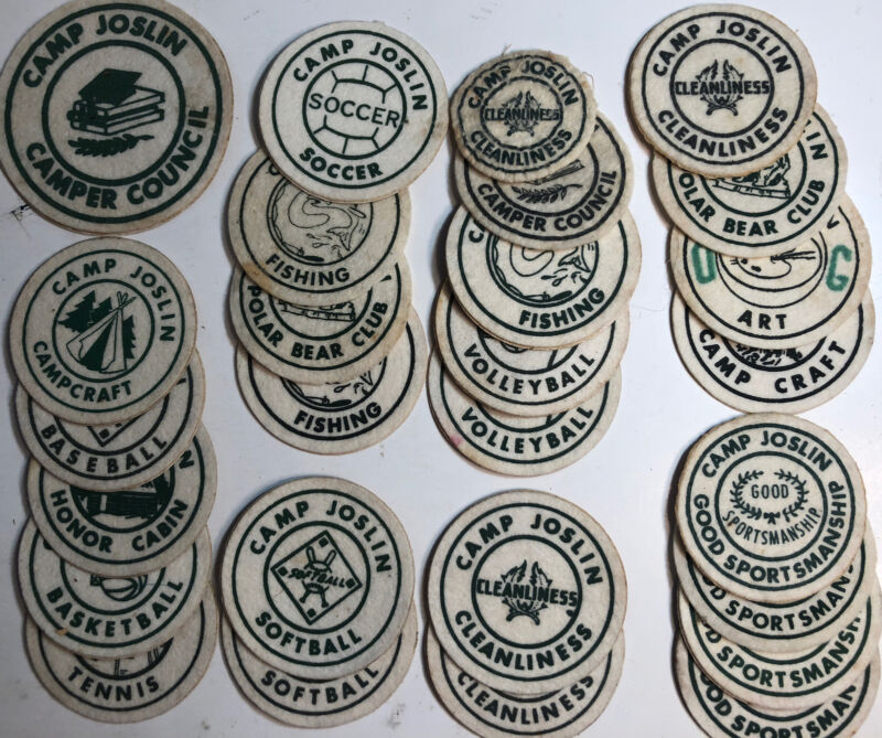 Charlton Massachusetts Joslin Camp Lot of 27 Achievement Patch/Stickers