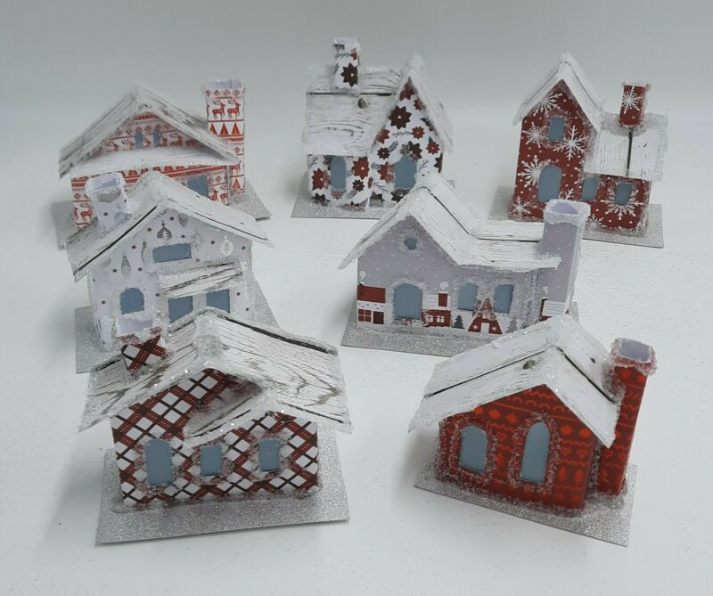 Festive Red & Gray Paper Putz House Village