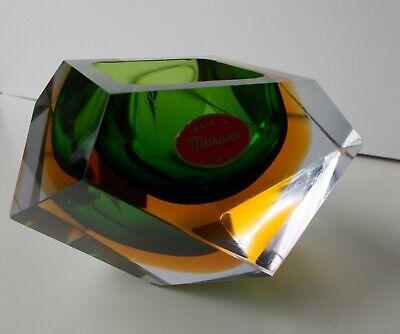1960s Vintage Mandruzzato Murano Gold Green Glass Diamond Cut Block Trinket Dish