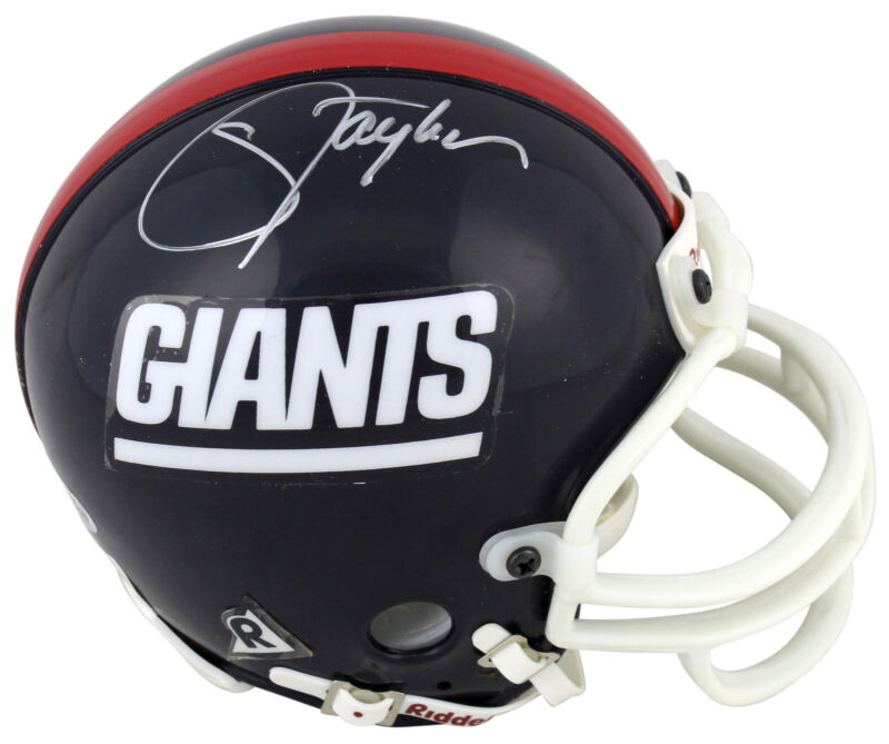 Giants Lawrence Taylor Authentic Signed Vintage Replica Mini Helmet Bas