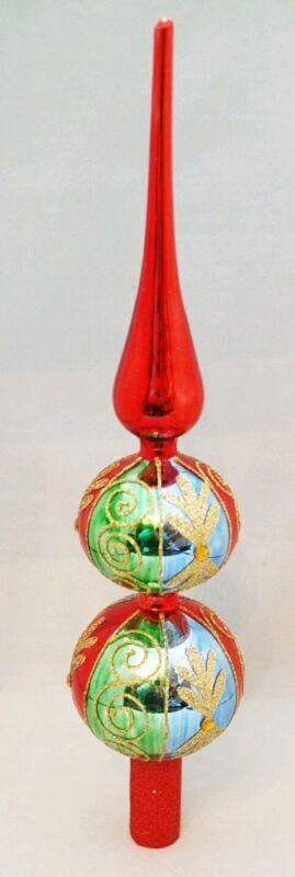 """Finial Glass Tree Topper Red Green Christmas Glitter Filigree 13"""" Kurt Adler"""