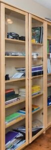 Bookcases with Glass Doors and Wood Shelves