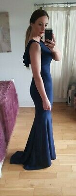 New Jarlo London Jemima Long Evening Fish Tail Gown Prom Dress Navy Size EU 36