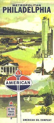1960's American Oil Co Philadelphia PA.. Vintage Road Map
