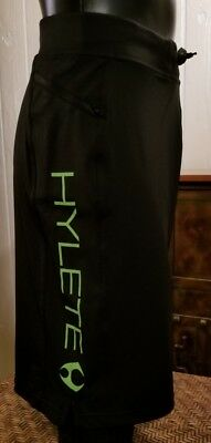 Hylete Crossfit Black Green Letter Drawstring Zip Pkt Shorts Sz M Above Knee