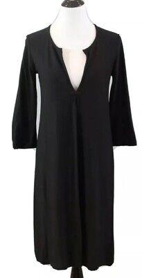EILEEN FISHER Sz L Rayon Nylon Spandex Crepe V-Neck 3/4 Sleeve Dress