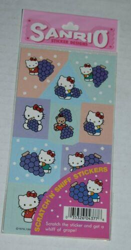 1995 sanrio HELLO KITTY scratch n sniff stickers GRAPE
