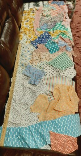 Vintage Feedsack Pieces Remnants Quilters Lot Floral Novelty 28 Different Prints