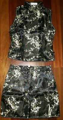 2 piece Chinese Cheongsam Qipao outfit in black and gold SIZE MEDIUM.  NWOT for sale  Seattle
