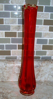 ART GLASS SWUNG STRETCH VASE AMBERINA RED MID CENTURY 12""