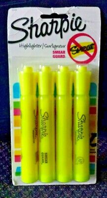 Sharpie Highlighters Chisel Tip Fluorescent Yellow Smear Guard 4 Count Pkg