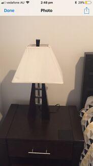 2 x Bedside Lamps (jarrah wood stainless steel)