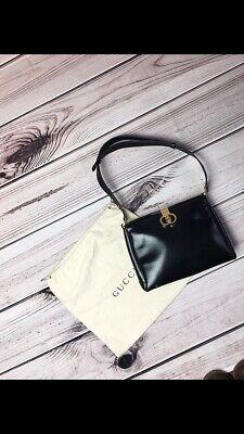 Gucci Vintage Black Leather Shoulder Bag Authentic