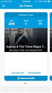 DRAKE CONCERT PLATINUM TICKETS X2 - Aubrey & the Three Migos