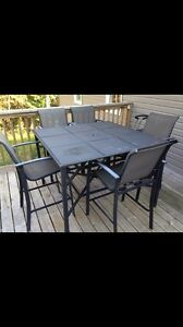 Pub height patio table and chairs