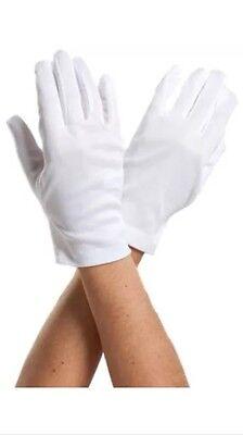 White Gloves Pair Formal Tuxedo Honor Color Gaurd Parade Santa Mens Inspection
