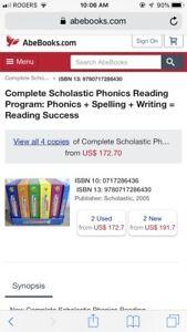 Scholastic phonics reading and writing program