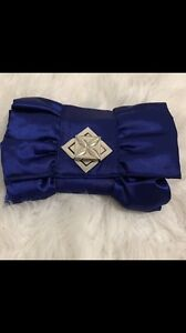 Satin evening clutch/bag - navy blue