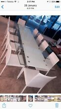 KING Modern Lge Adjustable 8-12 Seater Glass Dining Table 10 chairs New Farm Brisbane North East Preview
