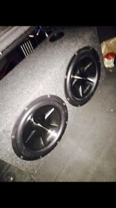 ^^** CLARION SUBWOOFERS IN BOX WITH MATCHING AMP!!