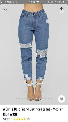 Fashion Nova A Girls Best Friend Boyfriend Jeans Medium Blue Wash Size