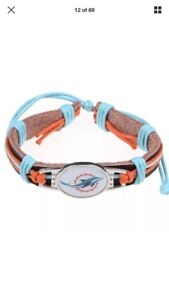 Miami dolphins leather bracelet -wristband-adjustable/new
