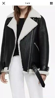 Allsaints HAWLEY shearling Leather Biker Jacket.Medium .Black.Acne Velocite