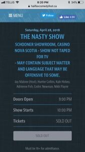 2 tickets to The Nasty Show- Halifax Comedy Fest Friday April 28
