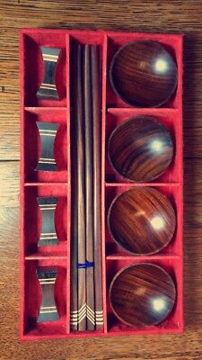WOODEN Japanese chopstick set w/ soy sauce bowls, and chopstick rests.