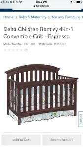 Crib with Mattress, matching change table & extras