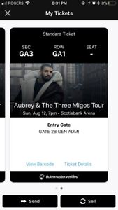 Selling General Admission Drake and Migos Tickets Toronto