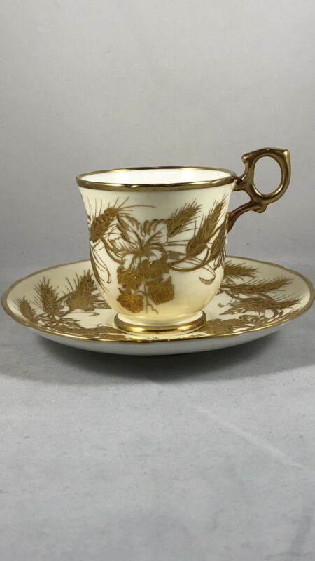 STUNNING HAMMERSLEY ENGLAND CUP SAUCER T GOODIE RAISED GOLD GILT HP BONE CHINA❤️