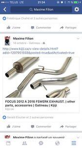 Ligne d'exhaust 2.5 Fswerk Ford focus 2012 a 2016 Gatineau Ottawa / Gatineau Area image 1