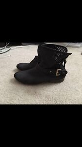 Black/grey fall booties size 10