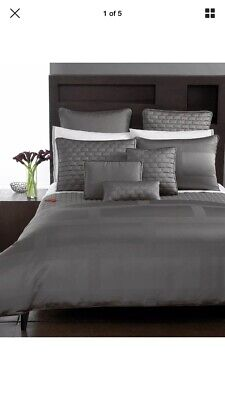 Frame Pillow - Hotel Collection Frame Nickel Gray Set of 2 EURO Pillow Shams- Brand New