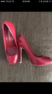 Aldo size 37 red patent leather shoes