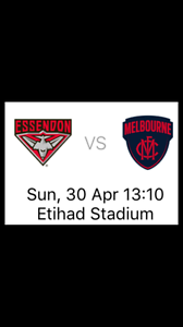 AFL: Essendon vs Melbourne 30/4 Etihad Docklands Melbourne City Preview