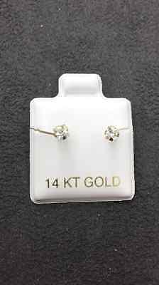14 KT Yellow Gold Princess Cut Stud Earrings Screw Back (pierced) 3MM 14k Yellow Gold Pierced Earrings
