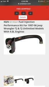 K&N performance air intake kit for Jeep TJ