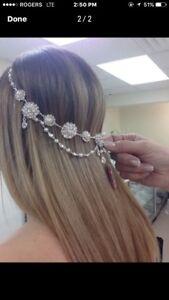 Bridal Head Piece Worn 1x pearl & crystal.