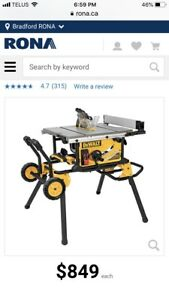 DeWalt Table Saw with portable table