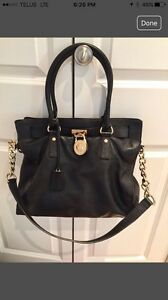 Mikael kors black leather handbag