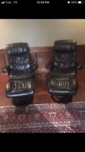2 leather chairs with ottoman for sale