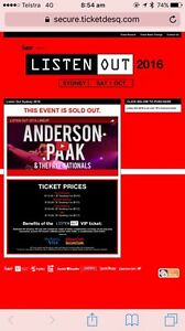 2x listen out tickets  sydney. Pyrmont Inner Sydney Preview