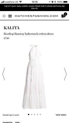KALITA Rooftop Runway Silk Cotton Maxi Halter Dress XS S Sold Out New NWT £740