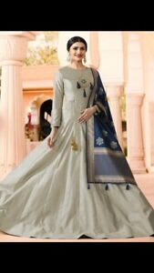 Indian/Pakistani grey gown with dupatta