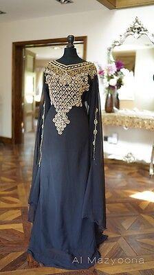 Al Mazyoona Dubai Arabic Chiffon Kaftan Dress Abaya Jalaba Farasha Khaleeji Maxi